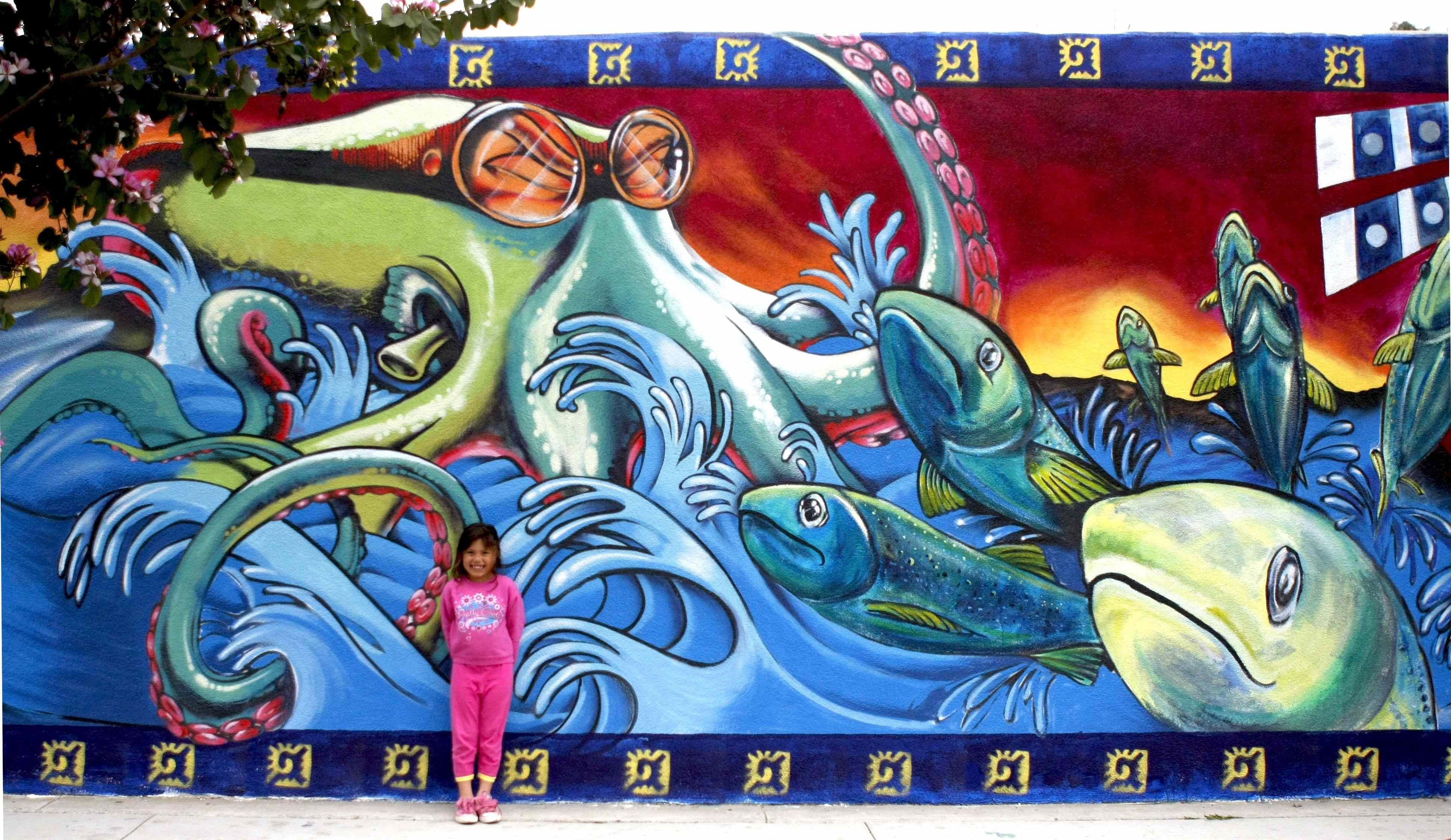 """water Writes"" Mural Unveiling In La. Beach House Logo. Chemical Hazard Signs. Drishti Murals. S Letter Stickers. Black Cherry Stickers. Customise Sticker. Silhouette Kid Decals. Cool Garage Murals"